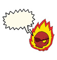 cartoon burning skull with speech bubble vector image vector image