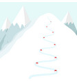 cartoon ski track on snow mountain skiing trace w vector image