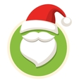 Circle Christmas Label Icon Flat with Santa Hat vector image