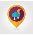 Cloud Snow Moon flat pin map icon Weather vector image