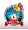 clown with balloons air circus show vector image vector image