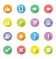 Colorful flat icon set 2 on circle long shadow vector image