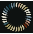 Colorful painted feathers folded into a circle vector image vector image