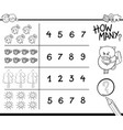 counting activity coloring page vector image vector image