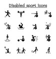 disabled sport icon set graphic design vector image