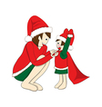 Father and Son Dressing to be Santa vector image vector image