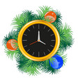 festive new year s watch decorated branch with toy vector image vector image
