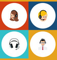 flat icon center set of help call center service vector image vector image