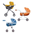 Folding stroller or newborn baby infant carriage vector image
