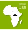 fun moustache flat cartoon africa map gentleman vector image