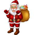 funny santa with gifts cartoon vector image vector image