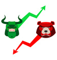 Green Red Bull and bear Traders at stock exchange vector image vector image