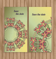 Greeting cards with lace hand-drawn ornament vector image