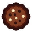 half chocolate biscuit icon flat style vector image vector image