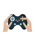 hands with video game control vector image