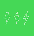 lightning bolts line icons vector image