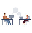 man and woman are texting at work working vector image