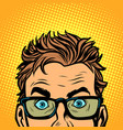 man look glasses stylish young man serious funny vector image