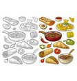 mexican traditional food set with guacamole vector image