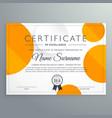 modern certificate template design with orange vector image vector image