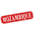 mozambique red square grunge retro style sign vector image vector image
