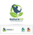 nature fitness logo vector image vector image