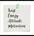 note paper with team motivation text vector image vector image