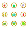 paintball game icons set cartoon style vector image vector image