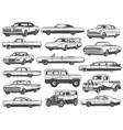 retro car vintage sedan cabriolet pickup wagon vector image vector image
