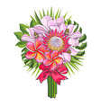 tropical flowers and green palm leaves in bouquet vector image vector image