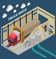 truck wash isometric composition vector image vector image
