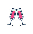 two glasses with red wine modern icon vector image