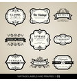 vintage labels and frames design elements vector image vector image