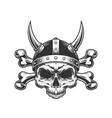 vintage viking skull in horned helmet vector image vector image