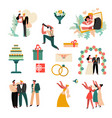 wedding day or marriage ceremony bride and groom vector image vector image