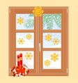 Winter window with Christmas decorations vector image