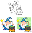 Wizard Waving Preparing A Potion Collection vector image vector image