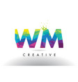 wm w m colorful letter origami triangles design vector image vector image