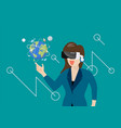woman in virtual reality vector image vector image