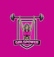 woman weight lifter mascot logo girls power gym vector image vector image