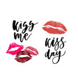 world kissing day lettering in lips template for vector image