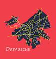 flat map design - damascus city vector image