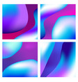 a set trendy liquid backgrounds blue cyan vector image