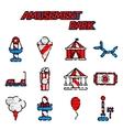 Amusement park flat icon set vector image vector image