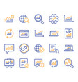 analysis line icons charts reports and graphs vector image vector image