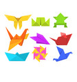animals origami set geometric paper animals and vector image vector image