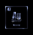 argentum silver periodic table element on black vector image vector image