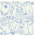 Baby clothes doodles on school squared paper vector image vector image