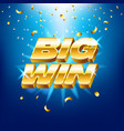 big win banner with gold text for casino machines vector image vector image