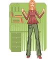 Business woman with folders near desk vector image